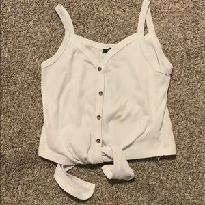 White cropped button up tank